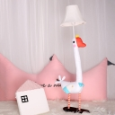 Cute Bell 1 Light Table Light with Goose Base White Fabric Shade Table Lamp for Children Room