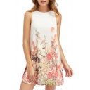 Floral Printed Round Neck Sleeveless Mini A-Line Dress
