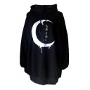 Moon Japanese Printed Long Sleeve Tunic Hoodie