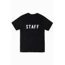 STAFF Letter Printed Round Neck Short Sleeve Tee