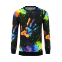 Graffiti Hand Printed Round Neck Long Sleeve Sweatshirt