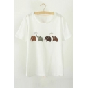 Cute Elephant Printed Round Neck Short Sleeve Tee