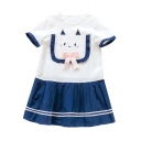 Lovely Cat Embroidered Bow Embellished Round Neck Color Block Striped Printed Mini A-Line Dress