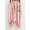 Lace Insert Cuff Cat Paw Printed Drawstring Waist Loose Pants