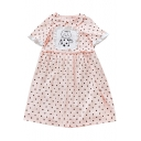 Cat Printed Applique Peter Pan Collar Short Sleeve Polka Dot Midi Smock Dress
