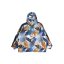 Leaf Printed Contrast Striped Long Sleeve Hooded Sun Proof Coat