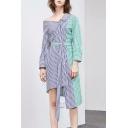 Color Block Striped Printed One Shoulder Long Sleeve Midi Asymmetric Hem Dress