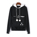 Cat's Paw Printed Long Sleeve Hoodie with Kangaroo Pocket