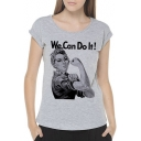 WE CAN DO IT Letter Character Printed Round Neck Short Sleeve Tee
