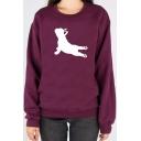 French Bulldog Yoga Pose Printed Round Neck Long Sleeve Sweatshirt