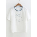 Contrast Round Neck Rabbit Printed Short Sleeve Tee