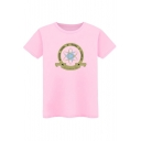 Planet Letter Printed Round Neck Short Sleeve Leisure Tee
