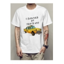 I SURVIVED MY TRIP Letter Car Printed Round Neck Short Sleeve Tee