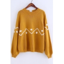 Geometric Printed Round Neck Long Sleeve Lace Up Back Sweater