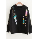 Pencil Letter Embroidered Round Neck Long Sleeve Sweater
