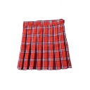 Classic Plaid Printed Zipper Fly Mini Pleated Skirt