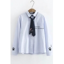 Letter Embroidered Lapel Collar Long Sleeve Buttons Down Striped Shirt with Tie