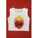 Fire Heart LOVE Letter Printed Round Neck Sleeveless Crop Tank