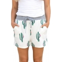 Drawstring Waist Cactus Printed Leisure Shorts