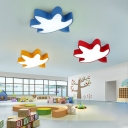 Contemporary Maple Leaf Flushmount Kids Children Room Acrylic LED Flush Ceiling Light