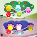 Eye Protection Tree Shape Flushmount Baby Children Room Glass Shade 5 Lights LED Lighting Fixture