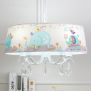 Fabric Drum Shade Suspension Light with Crystal Decoration Animals&Insects Kids 3/5 Lights Chandelier in White