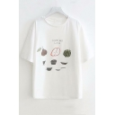 COOKING CLASS Letter Fruit Printed Round Neck Short Sleeve Tee