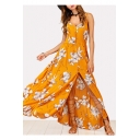 Buttons Down Floral Printed Spaghetti Straps Sleeveless Maxi A-Line Dress