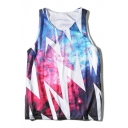Galaxy Light Printed Round Neck Sleeveless Leisure Tank