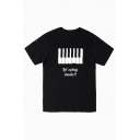 Piano Letter Printed Round Neck Short Sleeve Tee