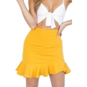 Plain Ruffle Detail High Waist Mini Asymmetrical Skirt