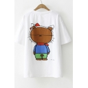 YOU CAN NEVER Letter Cat Printed Round Neck Short Sleeve Tee
