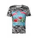 Flamingo SUMMER Letter Printed Round Neck Short Sleeve Zebra Tee