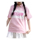 Heart CREAM Letter Printed Color Block Zipper Embellished Lapel Collar Short Sleeve Tee