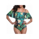 Off The Shoulder Short Sleeve Flora Leaf Printed One Piece Swimwear
