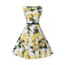 Lemon Printed Round Neck Sleeveless Midi A-Line Dress