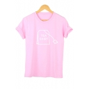 TEA SHIRT Letter Printed Round Neck Short Sleeve Leisure Tee