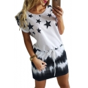 Ombre Star Printed Round Neck Short Sleeve Mini A-Line Dress