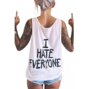 I HATER EVERYONE Letter Printed Round Neck Sleeveless Tank