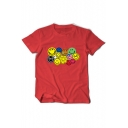 Smile Face Printed Round Neck Short Sleeve Leisure Tee