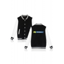 VICTORY ROYALE Letter Printed Color Block Long Sleeve Buttons Down Baseball Jacket