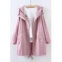 Plain Long Sleeve Zip Up Tunic Hooded Coat