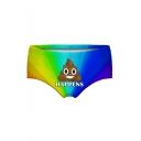HAPPENS Letter Cartoon Shit Printed Underwear Panty for Women