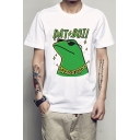 Trendy Letter Frog Printed Round Neck Short Sleeve Tee
