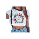 FOR YOU Letter Floral Printed Contrast Round Neck Short Sleeve Crop Tee