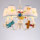 5 Lights Airplane Design Hanging Light Boys Bedroom Fabric Shade Chandelier Lamp in White Finish