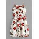 Braid Drawstring Spaghetti Straps Sleeveless Floral Printed Mini Cami Dress