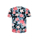 Trendy 3D Floral Printed Round Neck Short Sleeve Tee