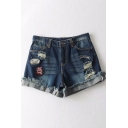 Badge Applique Embellished Cut Out Roll Cuff Zipper Fly Hot Pants Denim Shorts