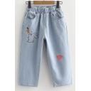 Elastic Waist Rabbit Heart Embroidered Crop Jeans